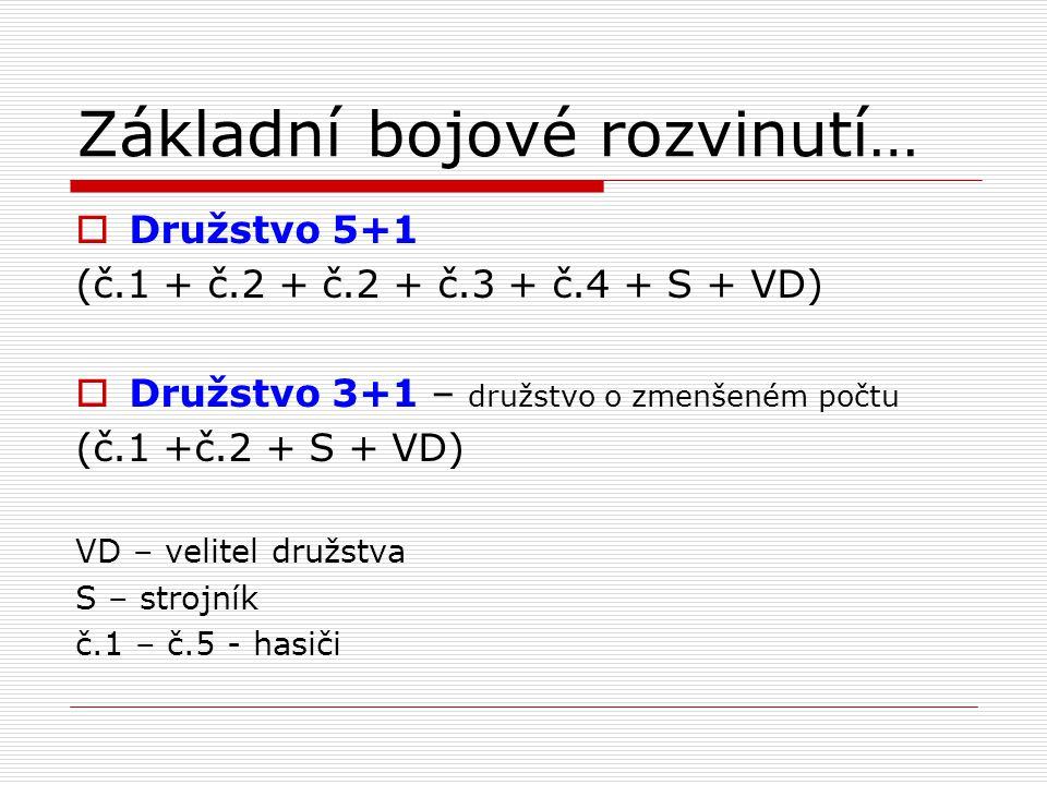 Základní bojové rozvinutí…  Družstvo 5+1 (č.1 + č.2 + č.2 + č.3 + č.4 + S + VD)  Družstvo 3+1 – družstvo o zmenšeném počtu (č.1 +č.2 + S + VD) VD –