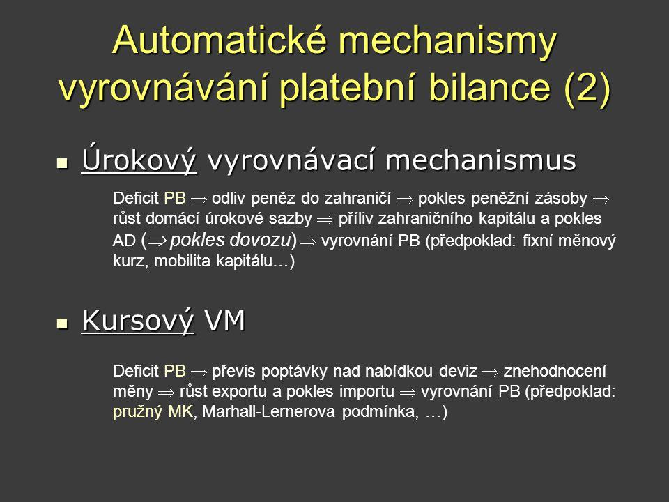 Automatické mechanismy vyrovnávání platební bilance (2)  Úrokový vyrovnávací mechanismus  Kursový VM Deficit PB  odliv peněz do zahraničí  pokles