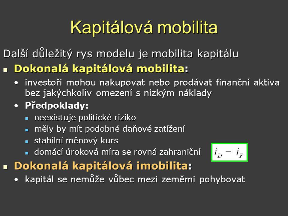Kapitálová mobilita Další důležitý rys modelu je mobilita kapitálu  Dokonalá kapitálová mobilita: •investoři mohou nakupovat nebo prodávat finanční a