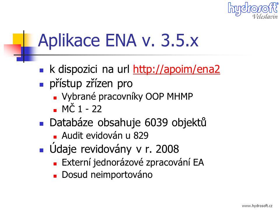 www.hydrosoft.cz Aplikace ENA v. 3.5.x  k dispozici na url http://apoim/ena2http://apoim/ena2  přístup zřízen pro  Vybrané pracovníky OOP MHMP  MČ