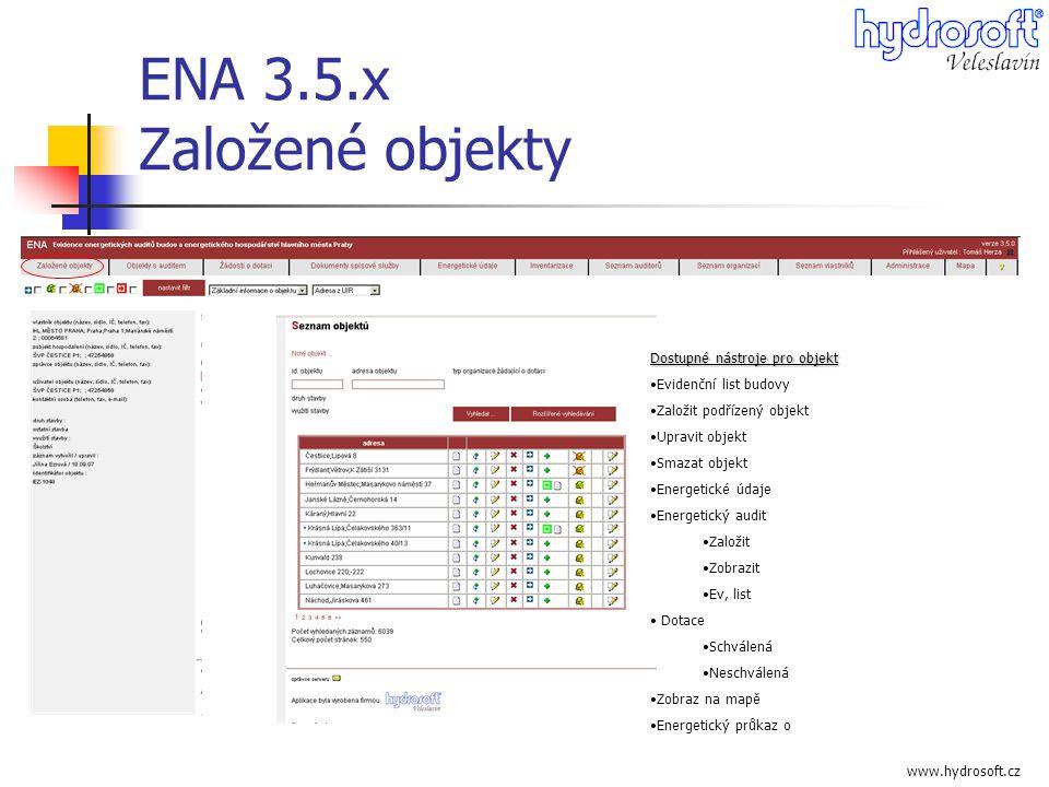 www.hydrosoft.cz ENA 3.5.x Založené objekty Dostupné nástroje pro objekt •Evidenční list budovy •Založit podřízený objekt •Upravit objekt •Smazat obje