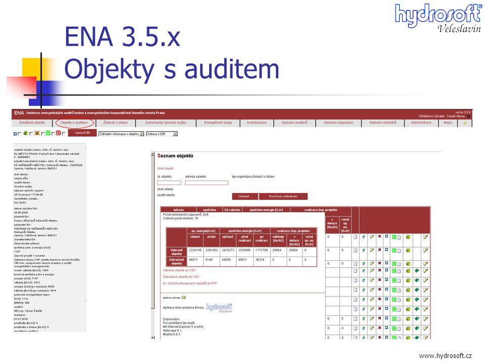 www.hydrosoft.cz ENA 3.5.x Objekty s auditem