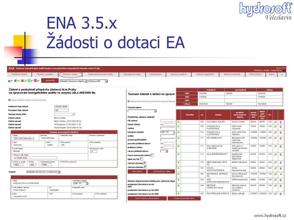 www.hydrosoft.cz ENA 3.5.x Žádosti o dotaci EA