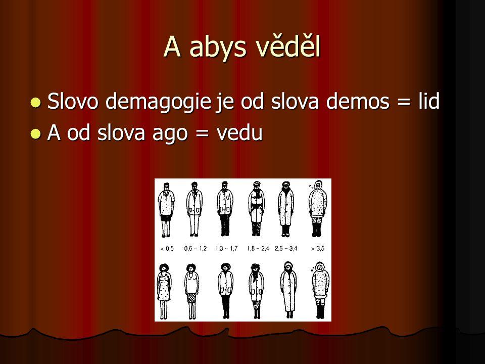 A abys věděl  Slovo demagogie je od slova demos = lid  A od slova ago = vedu