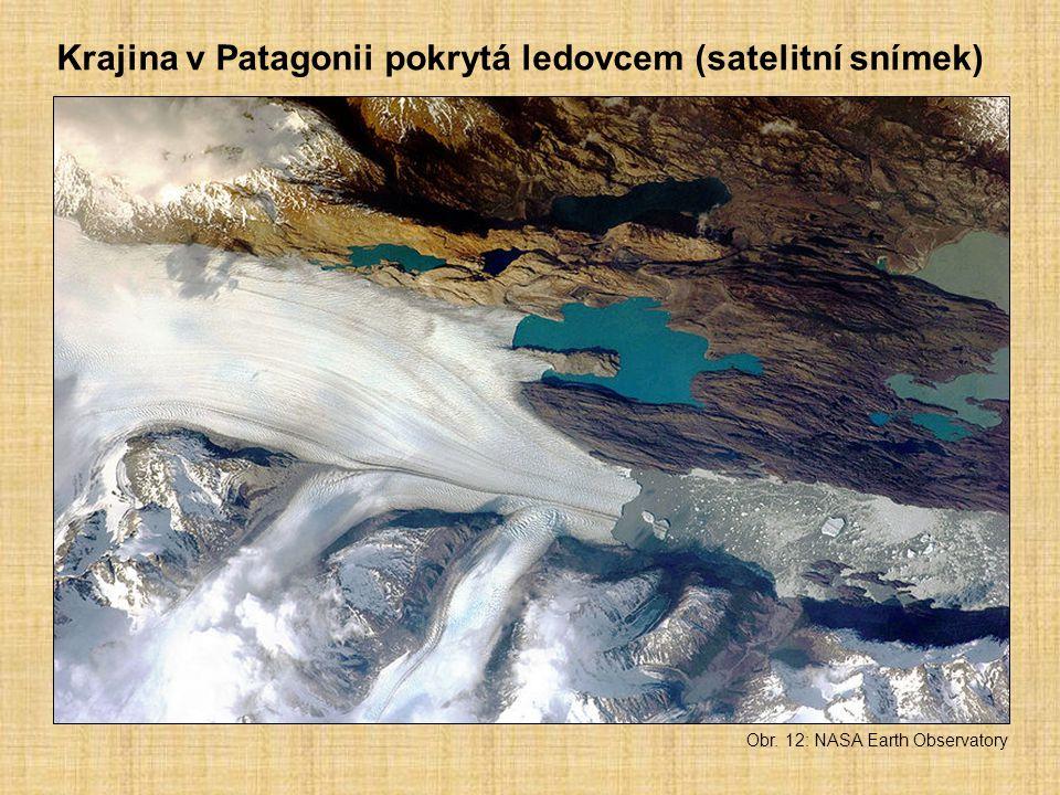 Obr. 12: NASA Earth Observatory Krajina v Patagonii pokrytá ledovcem (satelitní snímek)