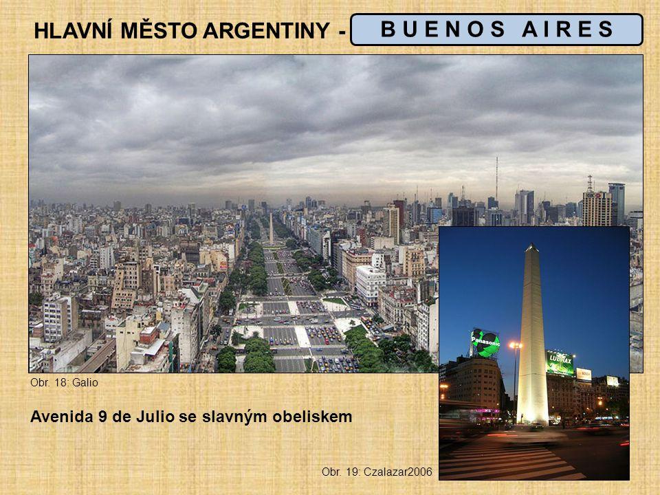 HLAVNÍ MĚSTO ARGENTINY - _ _ _ _ _ _ _ _ _ _ _ B U E N O S A I R E S Avenida 9 de Julio se slavným obeliskem Obr.