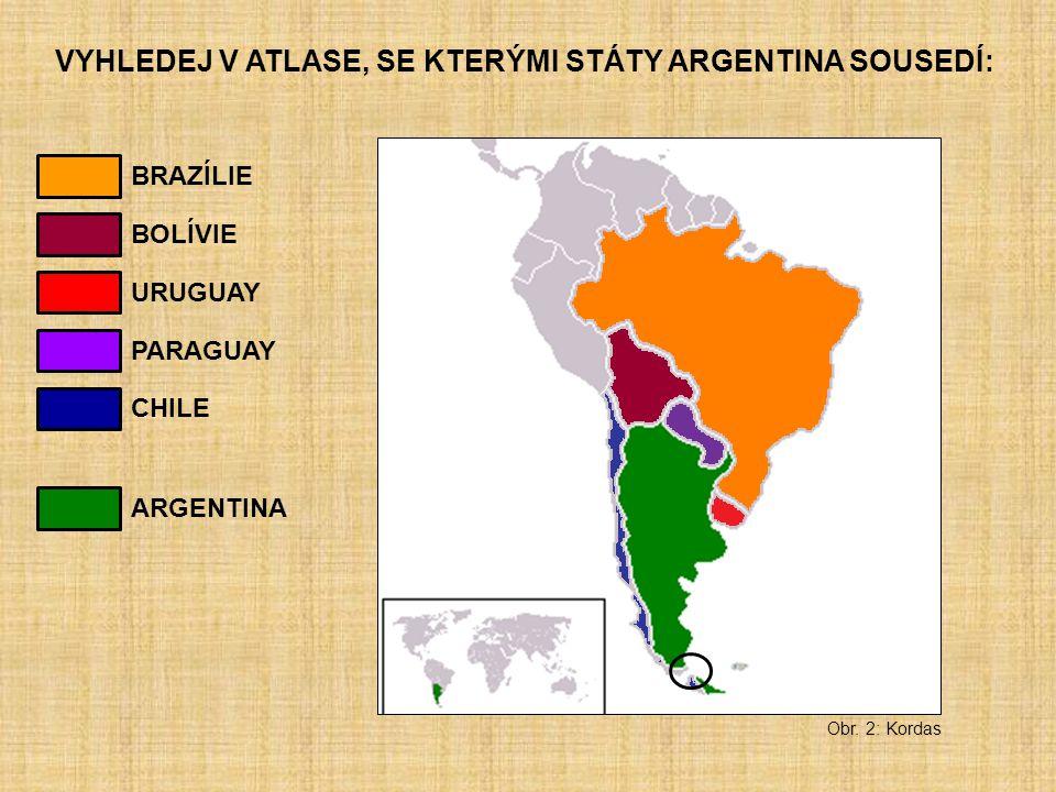 VYHLEDEJ V ATLASE, SE KTERÝMI STÁTY ARGENTINA SOUSEDÍ: Obr. 2: Kordas BRAZÍLIE BOLÍVIE URUGUAY CHILE PARAGUAY ARGENTINA