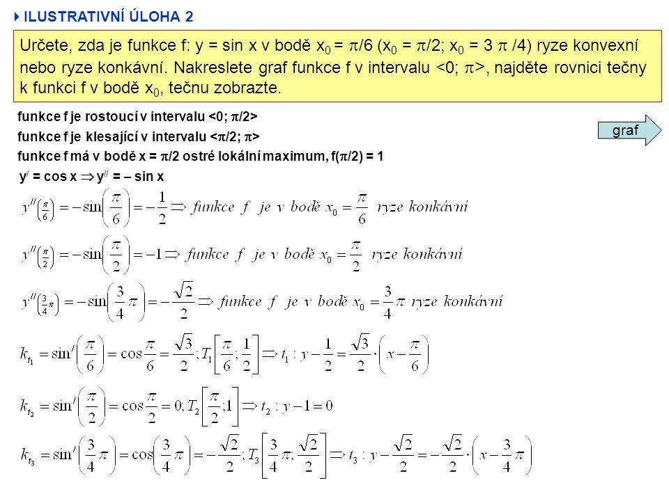  ILUSTRATIVNÍ ÚLOHA 2 Určete, zda je funkce f: y = sin x v bodě x 0 =  /6 (x 0 =  /2; x 0 = 3  /4) ryze konvexní nebo ryze konkávní. Nakreslete gr