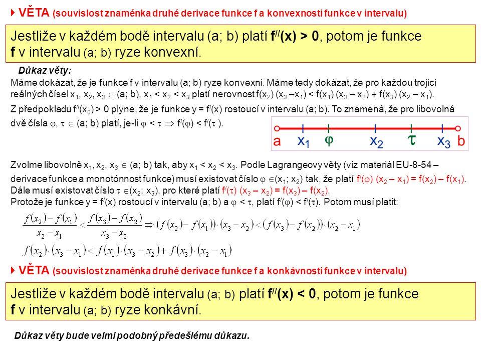  VĚTA (souvislost znaménka druhé derivace funkce f a konvexnosti funkce v intervalu) Jestliže v každém bodě intervalu (a; b) platí f // (x) > 0, poto