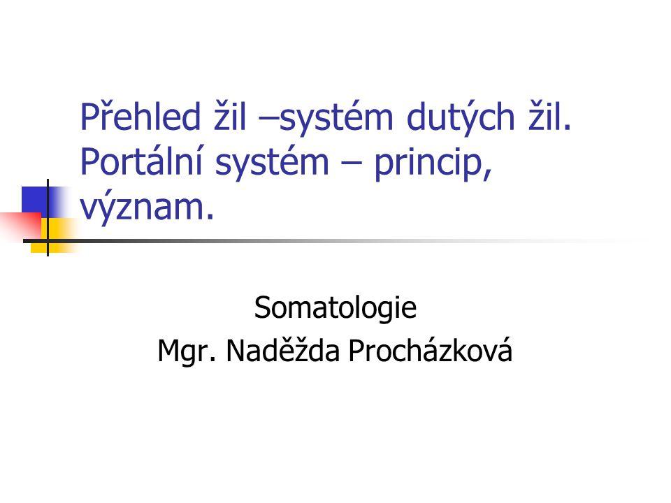 Přehled žil –systém dutých žil. Portální systém – princip, význam. Somatologie Mgr. Naděžda Procházková