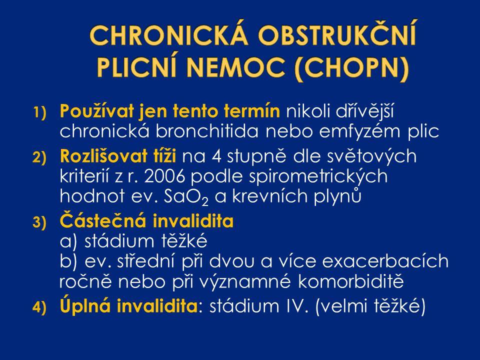 1) Používat jen tento termín nikoli dřívější chronická bronchitida nebo emfyzém plic 2) Rozlišovat tíži na 4 stupně dle světových kriterií z r. 2006 p