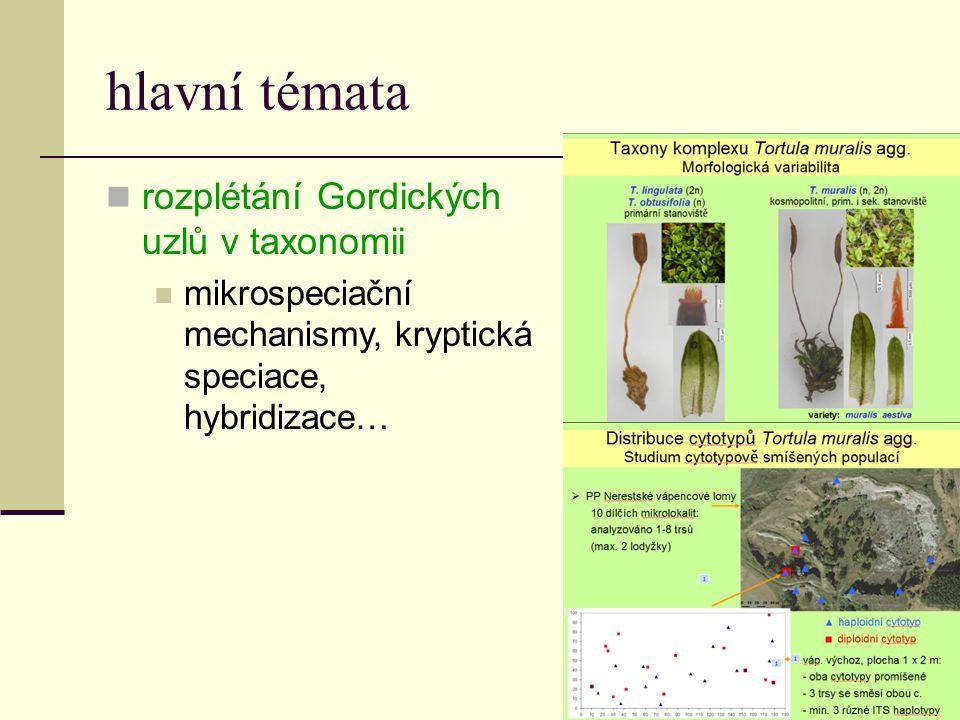 hlavní témata  rozplétání Gordických uzlů v taxonomii  mikrospeciační mechanismy, kryptická speciace, hybridizace…