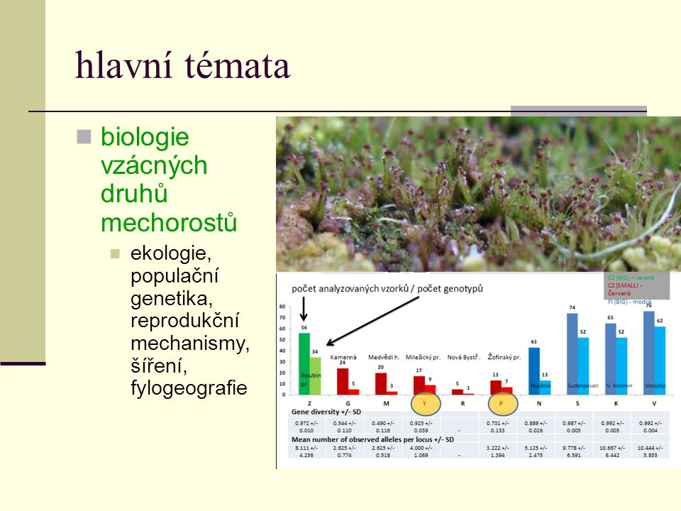 hlavní témata  biologie vzácných druhů mechorostů  ekologie, populační genetika, reprodukční mechanismy, šíření, fylogeografie