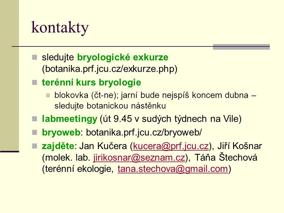 kontakty  sledujte bryologické exkurze (botanika.prf.jcu.cz/exkurze.php)  terénní kurs bryologie  blokovka (čt-ne); jarní bude nejspíš koncem dubna