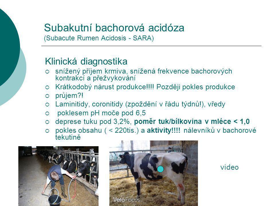 Subakutní bachorová acidóza (Subacute Rumen Acidosis - SARA) Klinická diagnostika  snížený příjem krmiva, snížená frekvence bachorových kontrakcí a přežvykování  Krátkodobý nárust produkce!!!.