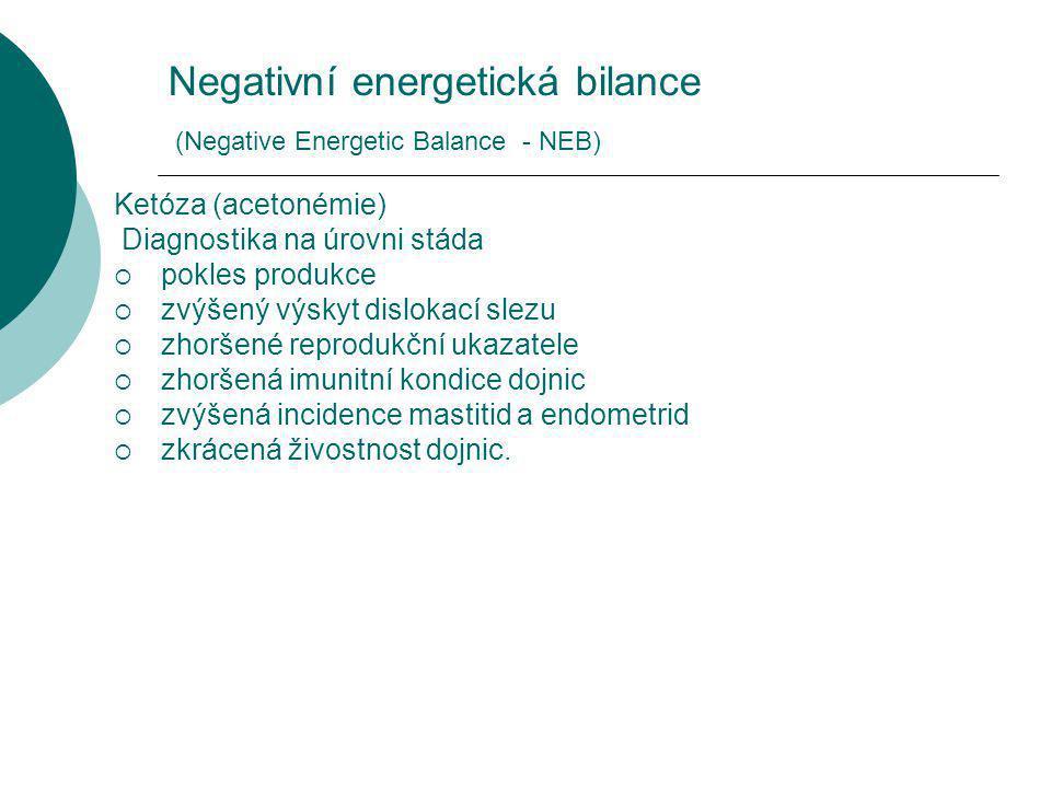 Negativní energetická bilance (Negative Energetic Balance - NEB) Ketóza (acetonémie) Diagnostika na úrovni stáda  pokles produkce  zvýšený výskyt dislokací slezu  zhoršené reprodukční ukazatele  zhoršená imunitní kondice dojnic  zvýšená incidence mastitid a endometrid  zkrácená živostnost dojnic.