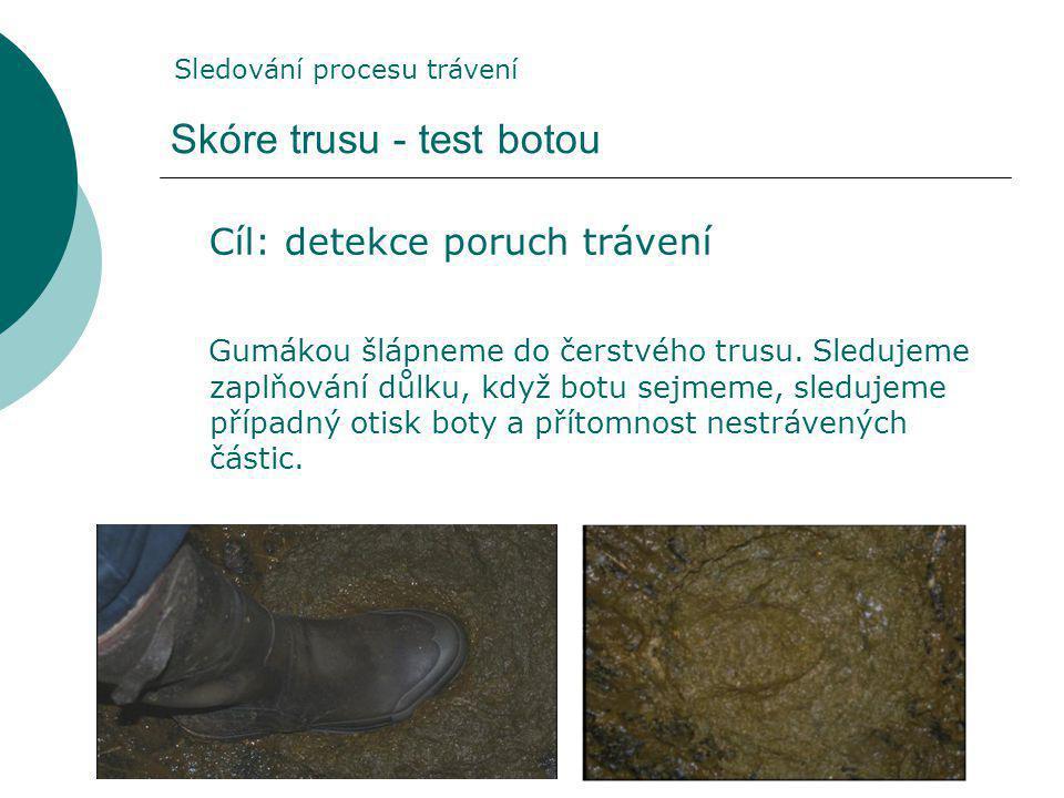 Skóre trusu - test botou Cíl: detekce poruch trávení Gumákou šlápneme do čerstvého trusu.