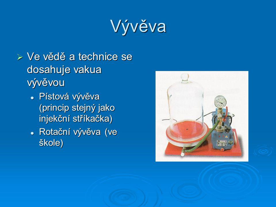 Vývěva  Ve vědě a technice se dosahuje vakua vývěvou  Pístová vývěva (princip stejný jako injekční stříkačka)  Rotační vývěva (ve škole)