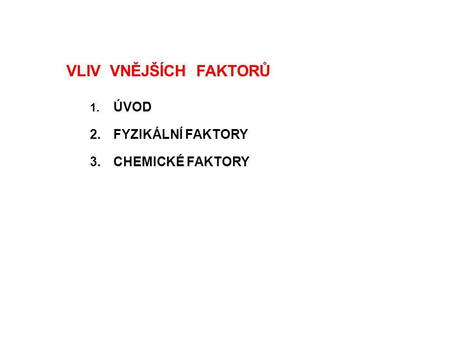 VLIV VNĚJŠÍCH FAKTORŮ 1. ÚVOD 2.FYZIKÁLNÍ FAKTORY 3.CHEMICKÉ FAKTORY