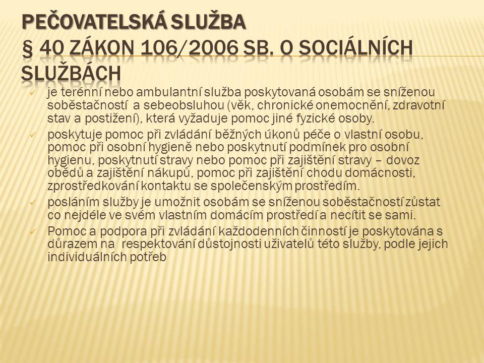 OŠETŘOVATELSKÁ PÉČE  § 36 zákon 106/2006 Sb.