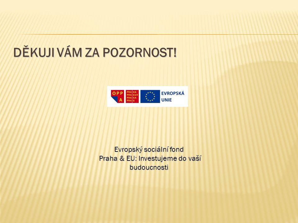 DĚKUJI VÁM ZA POZORNOST! Evropský sociální fond Praha & EU: Investujeme do vaší budoucnosti Praha & EU: Investujeme do vaší budoucnosti