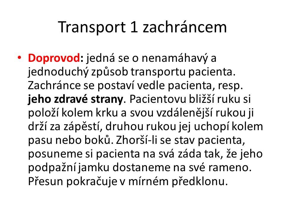 Transport 1 zachráncem • Doprovod: jedná se o nenamáhavý a jednoduchý způsob transportu pacienta. Zachránce se postaví vedle pacienta, resp. jeho zdra