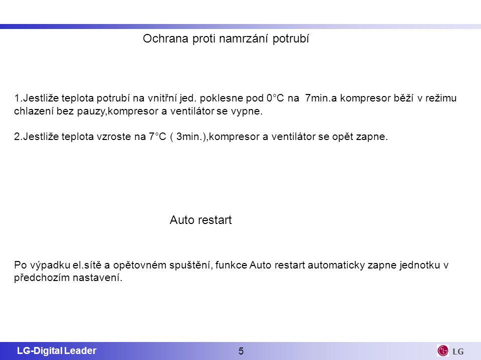 LG-Digital Leader 5 LG Ochrana proti namrzání potrubí 1.Jestliže teplota potrubí na vnitřní jed. poklesne pod 0°C na 7min.a kompresor běží v režimu ch