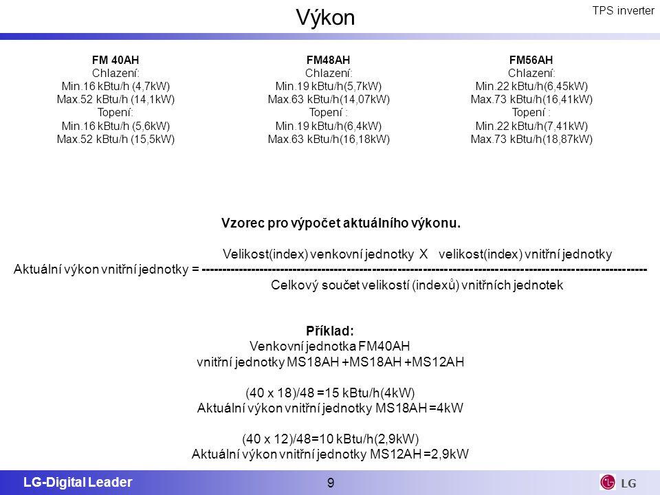 LG-Digital Leader 9 LG Vzorec pro výpočet aktuálního výkonu. Velikost(index) venkovní jednotky X velikost(index) vnitřní jednotky Aktuální výkon vnitř