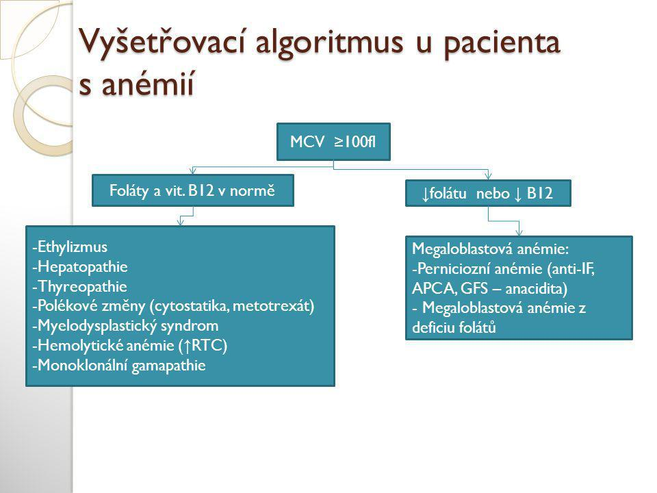 Vyšetřovací algoritmus u pacienta s anémií MCV ≥100fl Foláty a vit. B12 v normě ↓ folátu nebo ↓ B12 Megaloblastová anémie: -Perniciozní anémie (anti-I