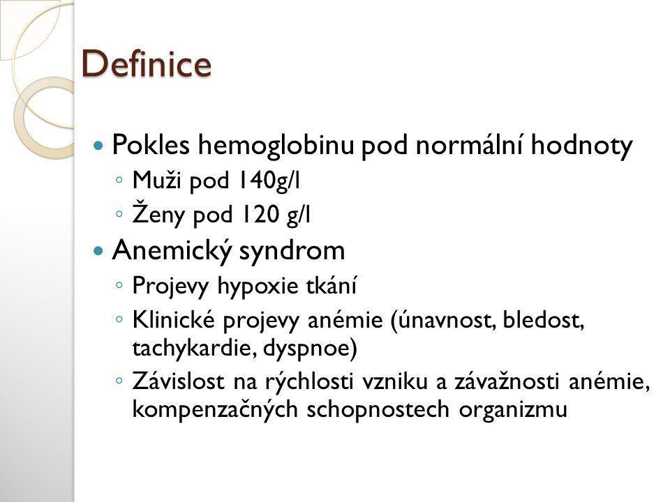 Definice  Pokles hemoglobinu pod normální hodnoty ◦ Muži pod 140g/l ◦ Ženy pod 120 g/l  Anemický syndrom ◦ Projevy hypoxie tkání ◦ Klinické projevy