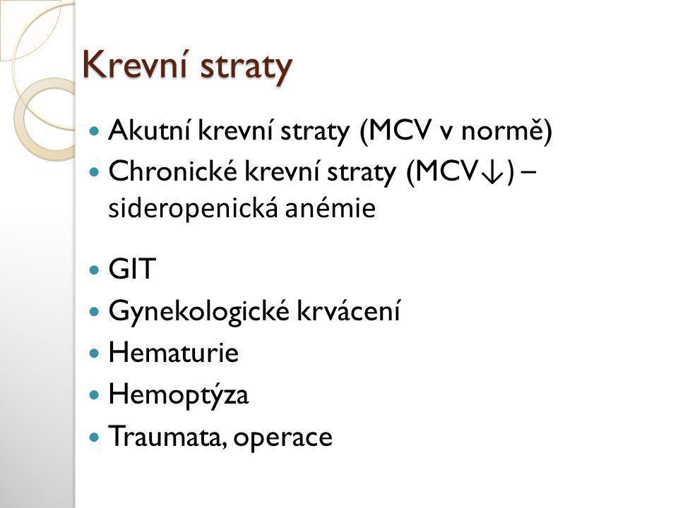 Krevní straty  Akutní krevní straty (MCV v normě)  Chronické krevní straty (MCV ↓) – sideropenická anémie  GIT  Gynekologické krvácení  Hematurie  Hemoptýza  Traumata, operace