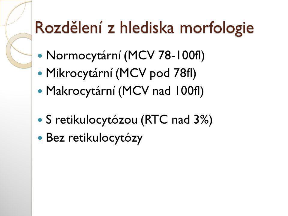 Rozdělení z hlediska morfologie  Normocytární (MCV 78-100fl)  Mikrocytární (MCV pod 78fl)  Makrocytární (MCV nad 100fl)  S retikulocytózou (RTC na