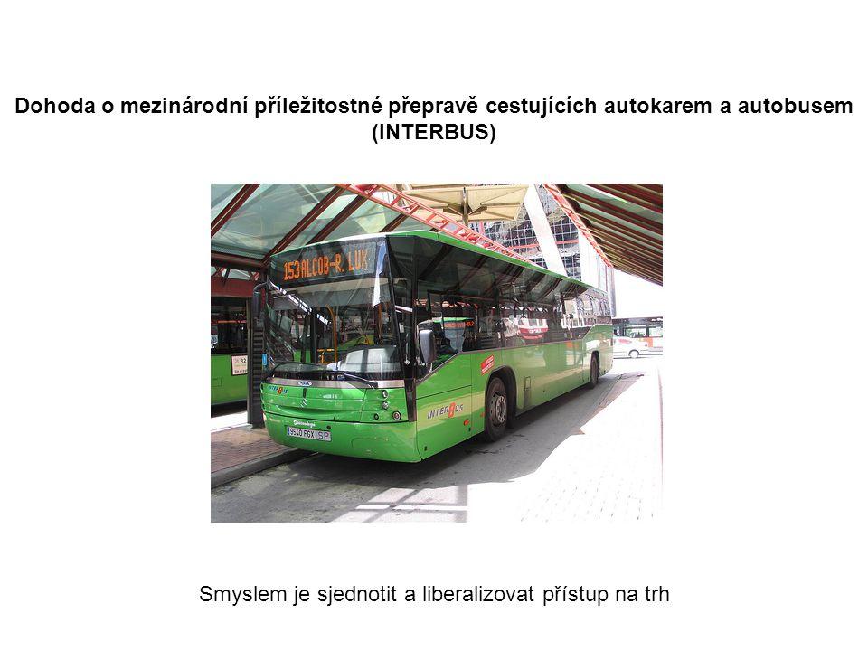 Dohoda o mezinárodní příležitostné přepravě cestujících autokarem a autobusem (INTERBUS) Smyslem je sjednotit a liberalizovat přístup na trh