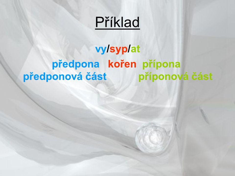Příklad vy/syp/at předpona kořen přípona předponová část příponová část