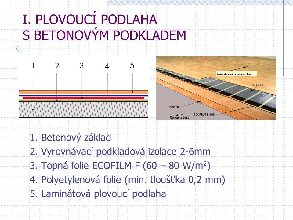 I. PLOVOUCÍ PODLAHA S BETONOVÝM PODKLADEM 1. Betonový základ 2. Vyrovnávací podkladová izolace 2-6mm 3. Topná folie ECOFILM F (60 – 80 W/m 2 ) 4. Poly