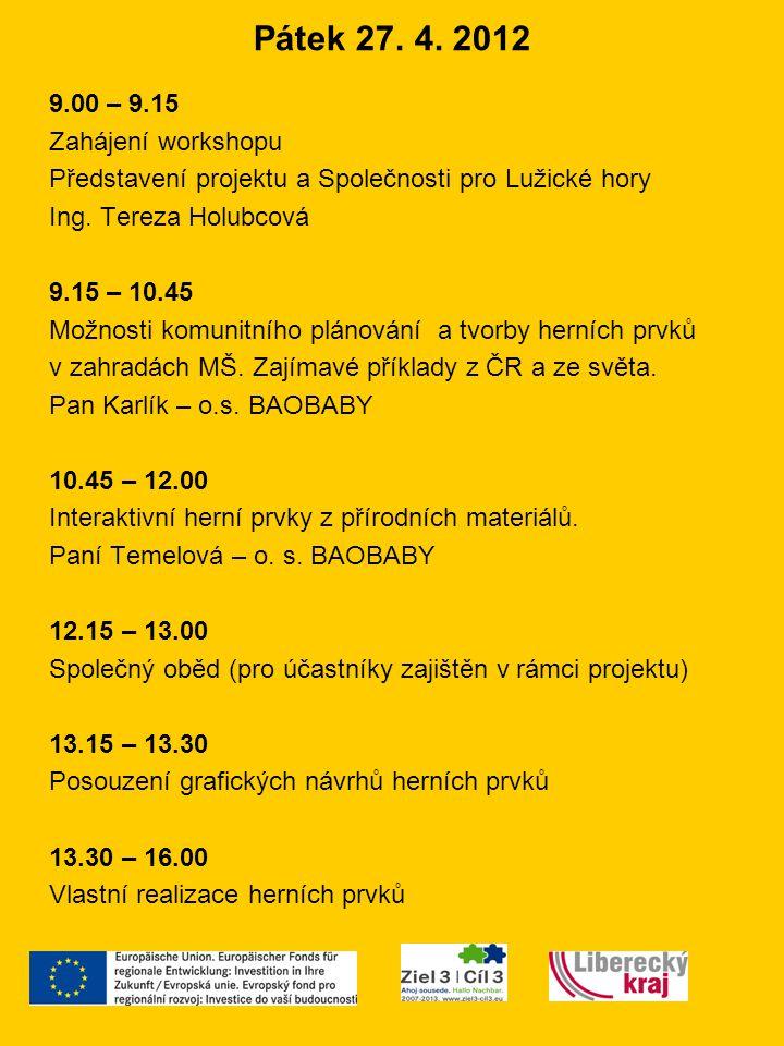 Pátek 27. 4. 2012 9.00 – 9.15 Zahájení workshopu Představení projektu a Společnosti pro Lužické hory Ing. Tereza Holubcová 9.15 – 10.45 Možnosti komun