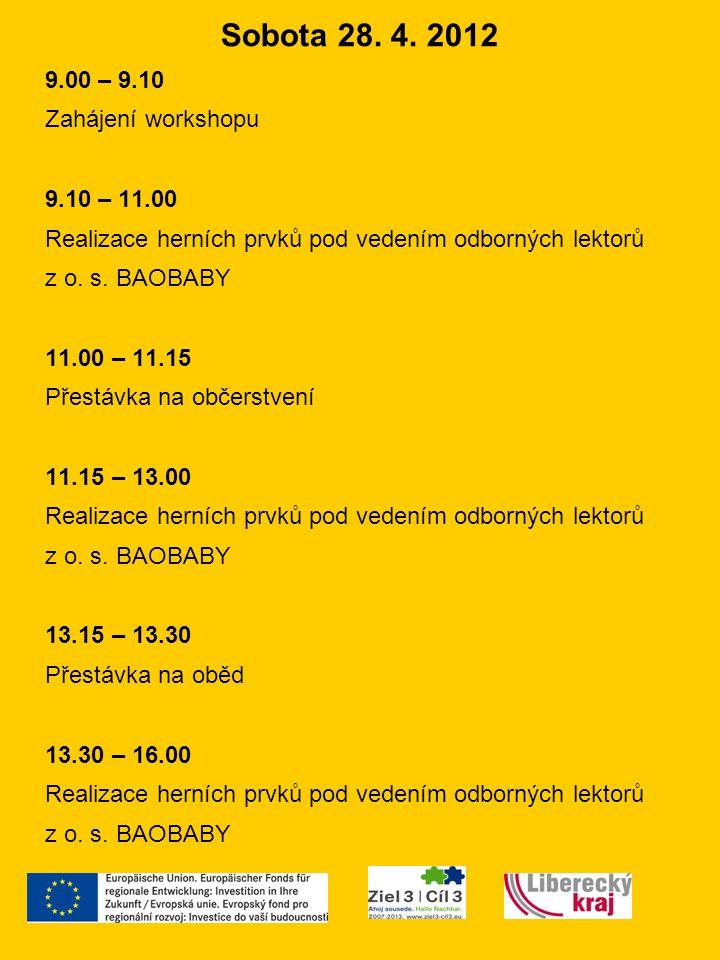 Sobota 28. 4. 2012 9.00 – 9.10 Zahájení workshopu 9.10 – 11.00 Realizace herních prvků pod vedením odborných lektorů z o. s. BAOBABY 11.00 – 11.15 Pře