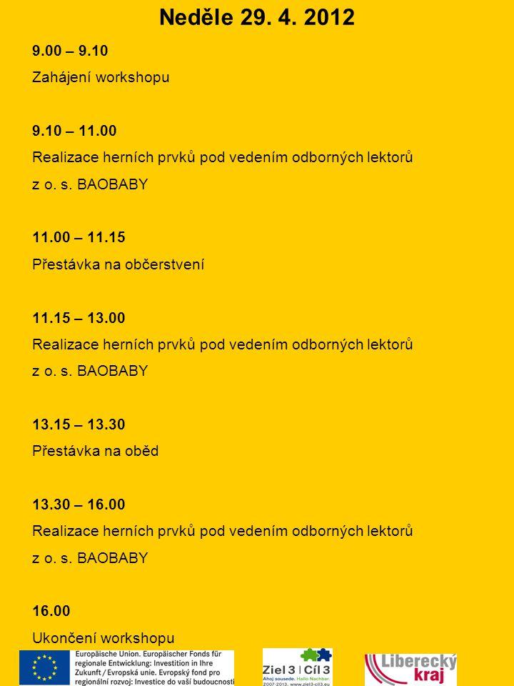 Neděle 29. 4. 2012 9.00 – 9.10 Zahájení workshopu 9.10 – 11.00 Realizace herních prvků pod vedením odborných lektorů z o. s. BAOBABY 11.00 – 11.15 Pře