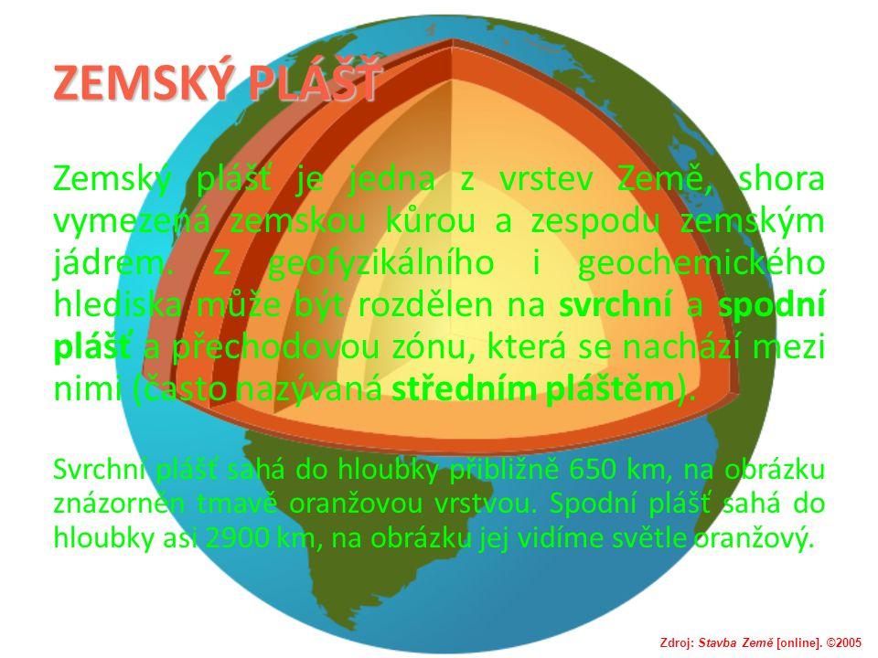 ZEMSKÝ PLÁŠŤ Zemský plášť je jedna z vrstev Země, shora vymezená zemskou kůrou a zespodu zemským jádrem. Z geofyzikálního i geochemického hlediska můž