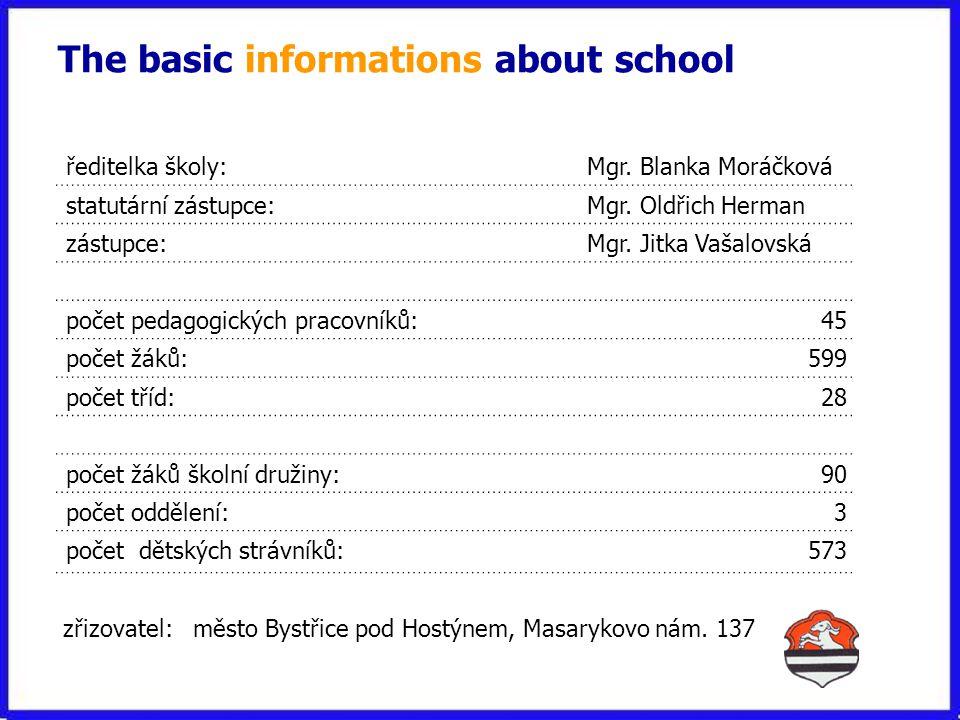 The basic informations about school zřizovatel: město Bystřice pod Hostýnem, Masarykovo nám.