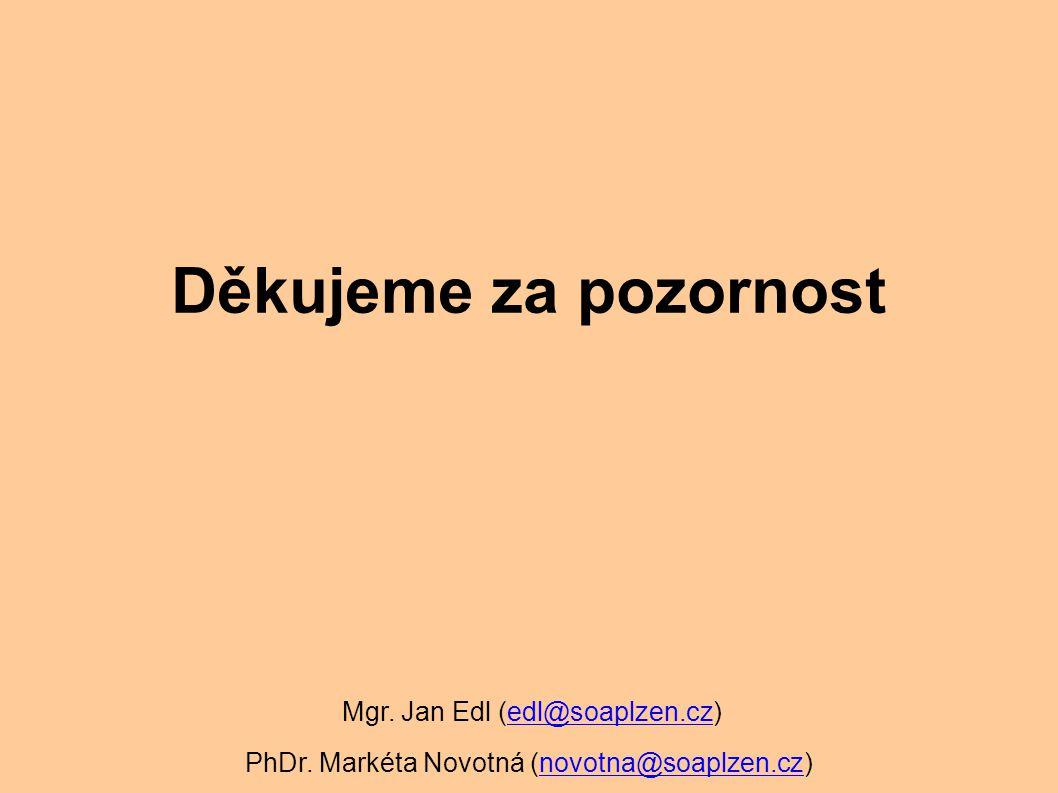 Děkujeme za pozornost Mgr.Jan Edl (edl@soaplzen.cz)edl@soaplzen.cz PhDr.