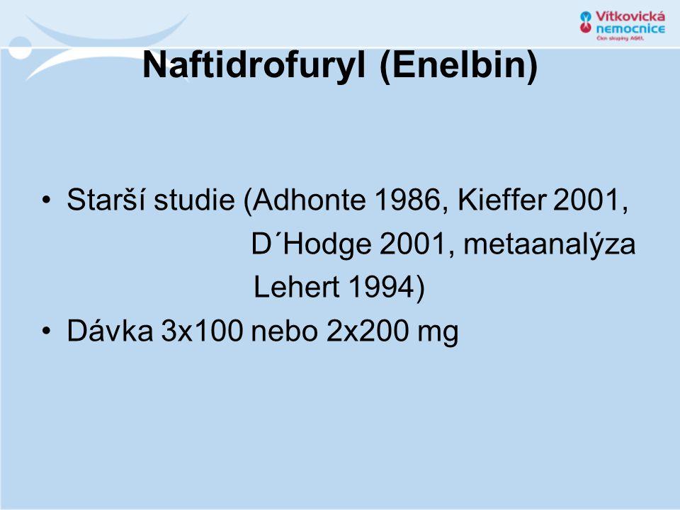 Naftidrofuryl (Enelbin) •Starší studie (Adhonte 1986, Kieffer 2001, D´Hodge 2001, metaanalýza Lehert 1994) •Dávka 3x100 nebo 2x200 mg
