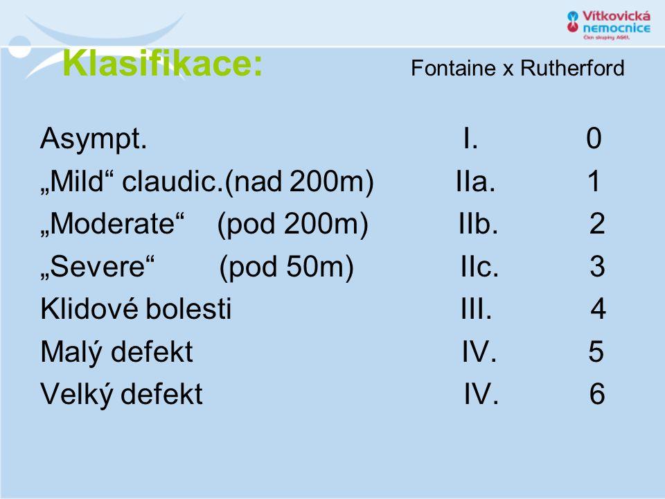 """Klasifikace: Fontaine x Rutherford Asympt. I. 0 """"Mild"""" claudic.(nad 200m) IIa. 1 """"Moderate"""" (pod 200m) IIb. 2 """"Severe"""" (pod 50m) IIc. 3 Klidové bolest"""