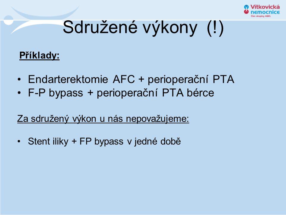 Sdružené výkony (!) Příklady: •Endarterektomie AFC + perioperační PTA •F-P bypass + perioperační PTA bérce Za sdružený výkon u nás nepovažujeme: •Sten