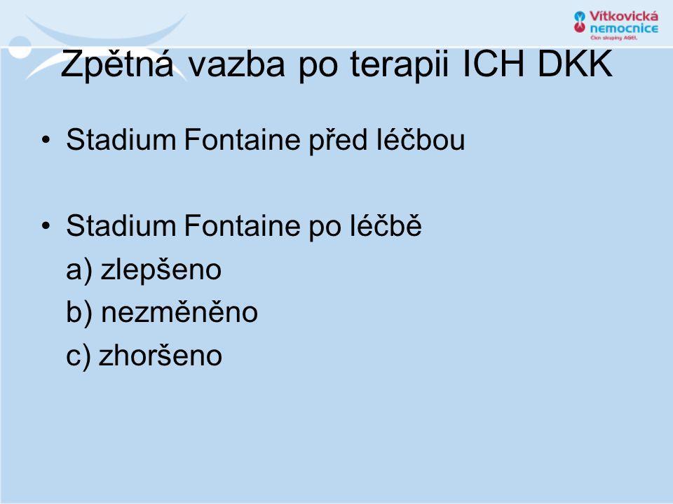Zpětná vazba po terapii ICH DKK •Stadium Fontaine před léčbou •Stadium Fontaine po léčbě a) zlepšeno b) nezměněno c) zhoršeno