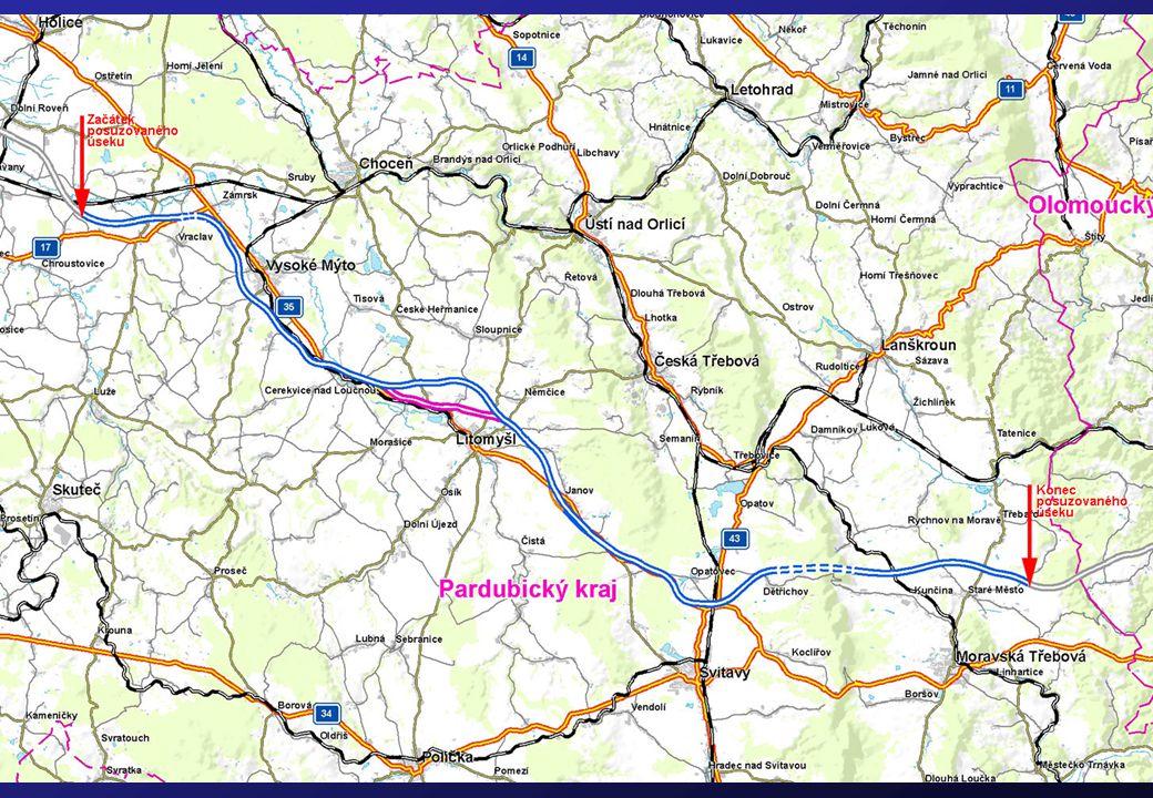 •čtyřpruhová rychlostní silnice o šířce 25,5 m •celostátně významná páteřní komunikace, vytváří kvalitní dopravní napojení dotčeného území v západním (Hradec Králové, Pardubice, Praha) i východním směru (Olomouc, Brno, Ostrava) •hodnocen úsek o délce 61,2 km: od MÚK se silnicí I/17 Ostrov (km 30,0) po MÚK s rychlostní silnicí R43 Staré Město – východ (km 91,1) •celý posuzovaný úsek je v Pardubickém kraji, prochází územím 27 obcí, z nichž největší jsou města Vysoké Mýto a Litomyšl •na trase plánovány 2 tunely: pod vrchem Homole u Vraclavi o délce 475 m a pod Hřebečovským hřbetem o délce 3 700 m – jeden z nejdelších v ČR •trasa obsahuje 72 mostů (z toho 11 bude delších než 50 m) a 10 mimoúrovňových křižovatek (převážně krátké spojky k současné I/35) Posuzovaný úsek R35
