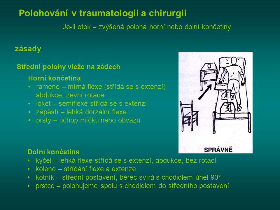 Polohování v traumatologii a chirurgii zásady Je-li otok = zvýšená poloha horní nebo dolní končetiny Střední polohy vleže na zádech Horní končetina •