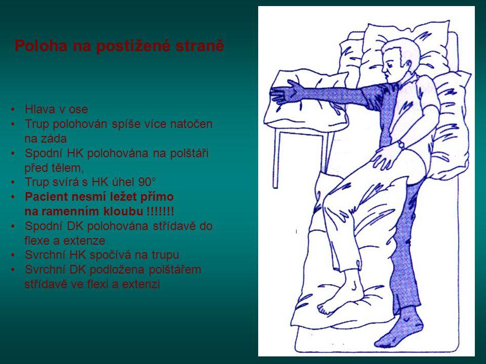 Poloha na postižené straně • Hlava v ose • Trup polohován spíše více natočen na záda • Spodní HK polohována na polštáři před tělem, • Trup svírá s HK