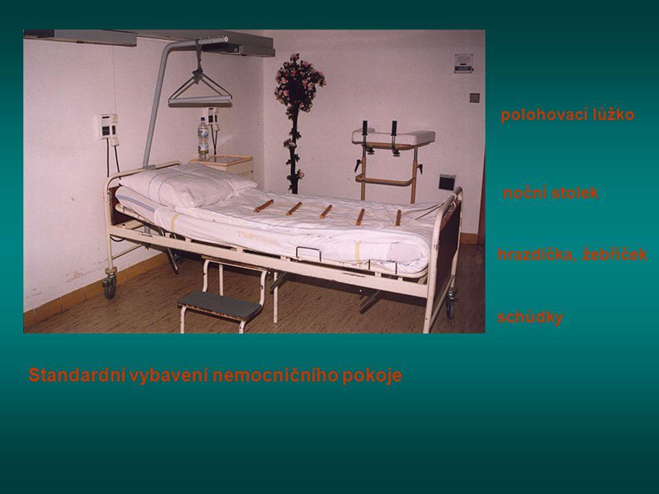 Standardní vybavení nemocničního pokoje polohovací lůžko noční stolek hrazdička, žebříček schůdky