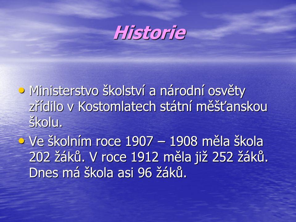 Historie • Ministerstvo školství a národní osvěty zřídilo v Kostomlatech státní měšťanskou školu.